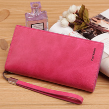 2016 New Vintage Women's wallet Phone bag candy color Clutches wallet brand Nubuck Leather purse coin purse