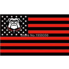 Georgia Bulldogs USA Stripe Star Banner Fan Flag 3X5FTustom NCAA banner white sleeve with 2 metal Grommets 90x150cm
