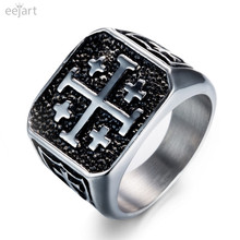 eejart  Jerusalem Cross Ring Stainless Steel Crusaders Religious Jesus Christ Medieval Knight Templar Military Middle Age