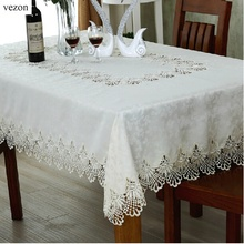vezon Hot Sale Elegant Lace Tablecloth For Wedding Party Home Daily Lace Satin Table Linen Cloth Cover Textile Decoration Towel(China)