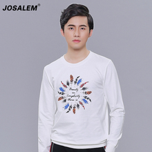 JOSALEM Men Letter Embroidery Sweatshirts 2017 New Fashion Autumn Winter Man Feather Print Hoodie Casual Pullovers plus size 4XL(China)