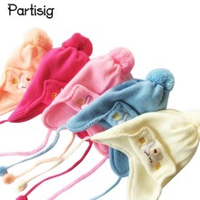 Partisig Brand 2017 Infant Hats Cotton Knitted Caps For Newborns Winter Ear Flap Baby Hats Caps 0 to 3 months Bebe De Roupa