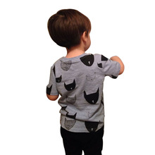 Brand New Kids Clothes Boys Girls T Shirt Tops Cotton Jersey Allover Cat Print Baby T shirts Tees