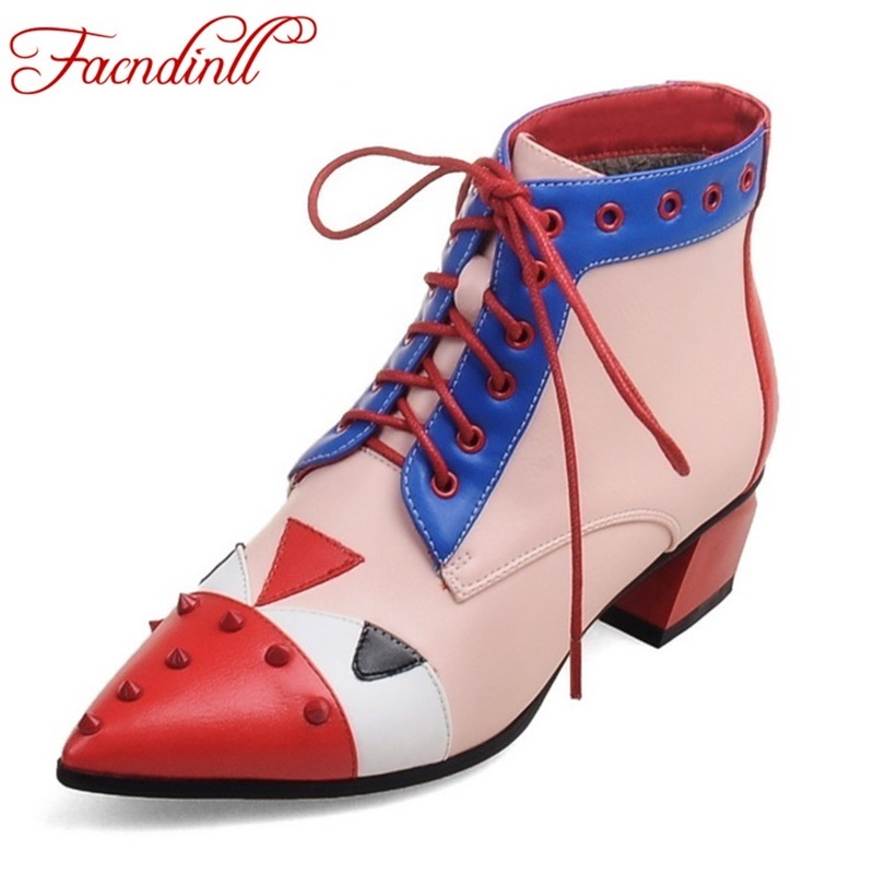2017 fashion autumn winter shoes women ankle boots platform casual shoes fashion mixed color leather boots outdoor shoes woman<br><br>Aliexpress