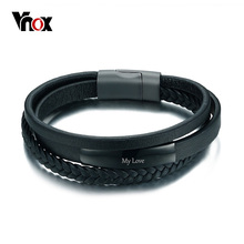 Vnox Genuine Leather Bracelet & Bangle for Men Multi-Layer Leather ID Identification Male Jewelry Engraved Service(China)