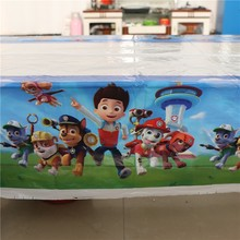 Disposable Table Cloth Cartoon Pawed Patrolling Dog Table Cover Tablecloth Kid Boy Birthday Party Map Home 180*108cm