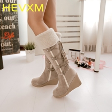 HEVXM New Fashion Scrub Plush Snow Boots Women Wedges Knee-High Slip-Resistant Boots Thermal Female Warm Cotton-Padded Shoes