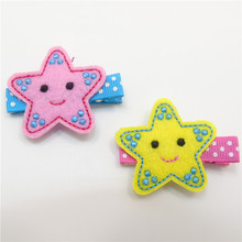10pcs/lot Felt Starfish Hair Clips No Slip Embroidery Twinkle Star Beach Hairpin Kid Dots Girls Barrettes Smiley Face Grips(China)