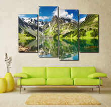 4 Panel Blue Sky Mountain With Lake Canvas Painting On The Wall Pictures For Living Room Large HD Cuadros Decor Modular Pictures