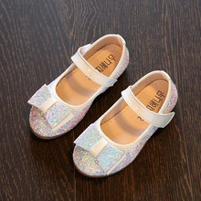 Children Party Shoes Paillette Flats Girls Bow Princess Leather Shoes Elegant Glitter Dress Shoes For Kids(China)