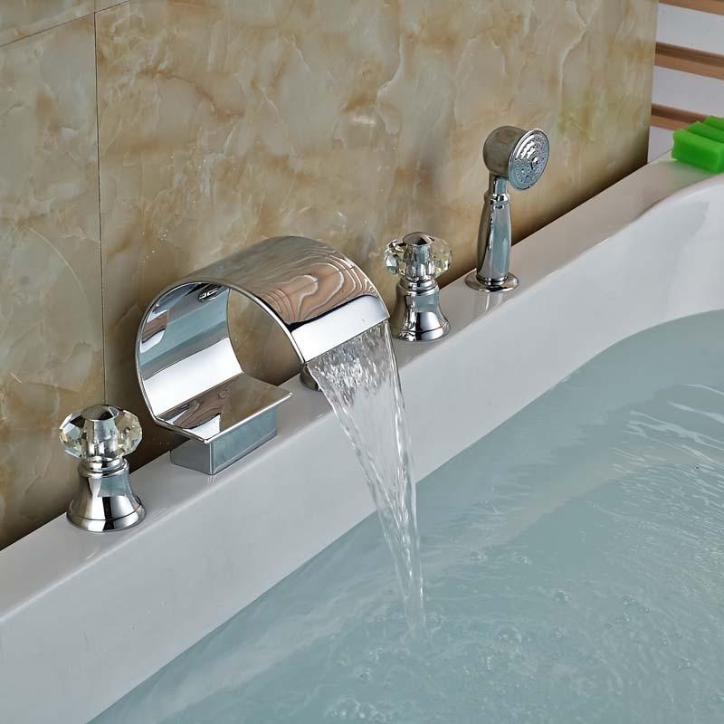Luxury Cristal Handles 5pcs Widespread Roman Tub Faucet Deck Mount Waterfall Bathtub Mixer Faucet<br><br>Aliexpress