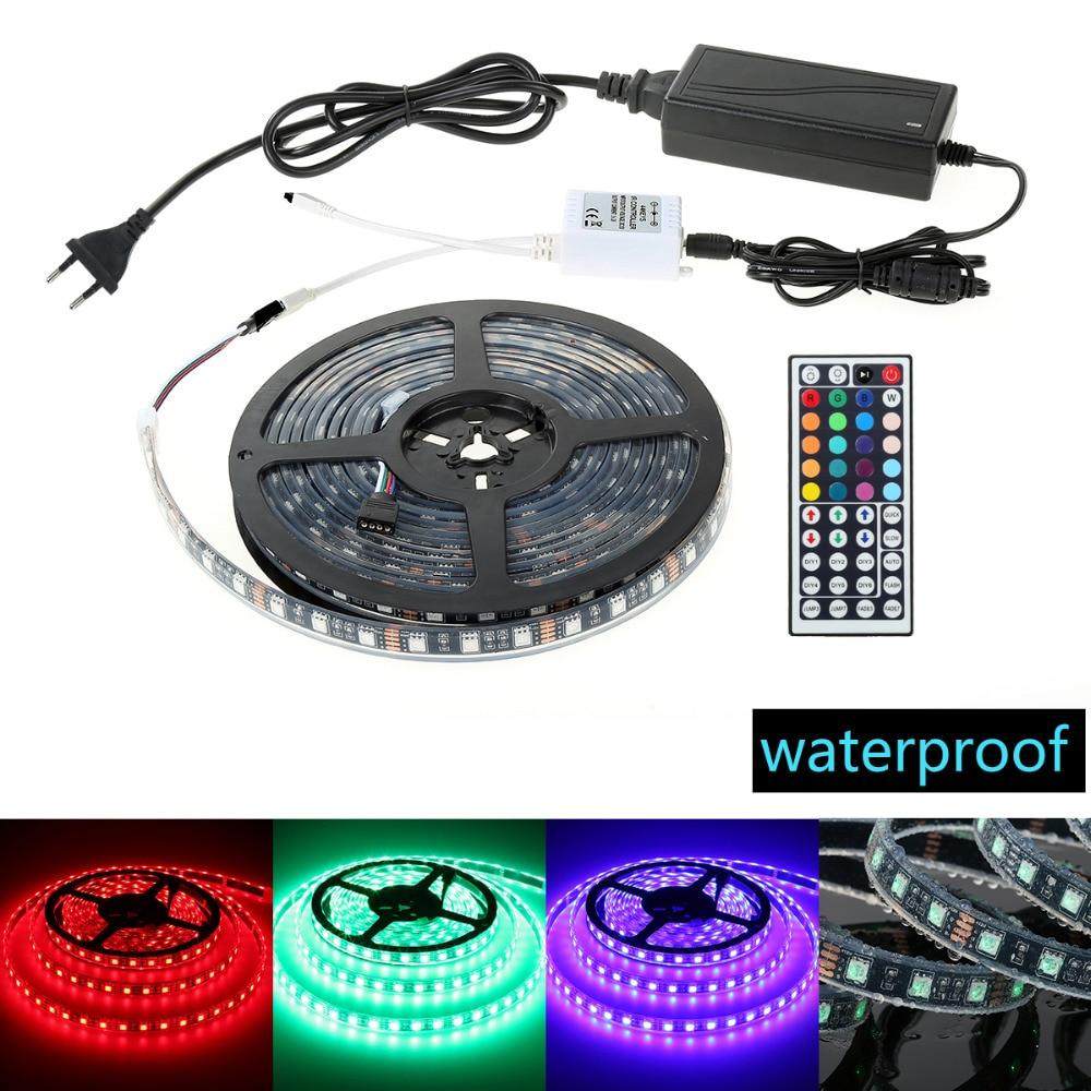 Good Quality 5Meters Waterproof 300D Colorful 5050RGB Blackboard IP68 Glue Control Light Strip Hot Sale European Regulatory <br>