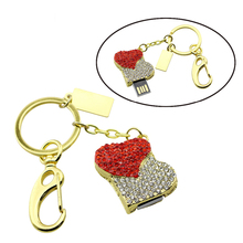 Jewelry Crystal Heart USB 2.0 Flash Drive 8G 32GB 64GB Pen Drive Memory Stick U Disk Holiday Gifts car key USB Pen Stick(China)