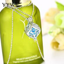 Fashion Jewelry Perfume Locket Necklaces Chain Cube Aromatherapy Essential Oil Diffuser Pendant Necklace Perfume Women for Gift(China)