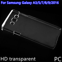 HD transparent crystal cell phone case cover For Samsung Galaxy A3 A5 A7 A8 A9 2016 case PC hard back cover Anti-knock Shell