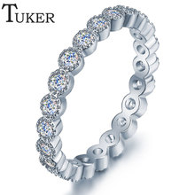 TUKER 2016 Fashion Cubic Zircon Setting Fashion Round CZ Crystal Ring  Plated Women Ring for women Jewelry