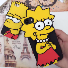 New Funny 3D Cute Cartoon Dull Polish Simpson couple Phone cover Case for IphoneSE 5 5S 6 6s Plus soft Simpson case for iphone7