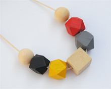 1pc Wax String Mix Color Square Round Wood Necklace Hand Painted Chunky Beads Jewellry E761(China)
