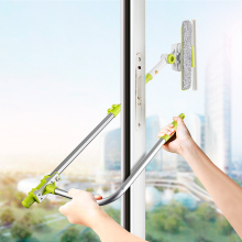 Glass Cleaner Brush Squeegee High-Rise Window Scrubber Microfiber Washing-Window Extendable