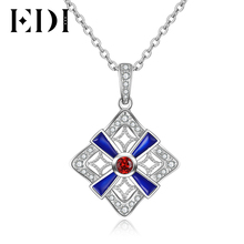 EDI Silver Chain necklace Vintage 925 Sterling silver Geometric Red Natural Garnet Gemstone Pendant for women Silver jewelry(China)