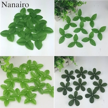 160pcs/lot 4 style Artificial Silk Ribbon Leaf-shaped Mini Fake Green Leaves For Wedding Home Scrapbooking Christmas Decoration(China)