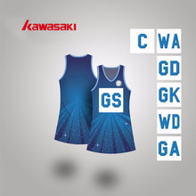 Kawasaki Navy blue Women Netball A line Dress Custom Fit Size Full Sublimation Girls Lycra Soft Tennis Dresses For Female(China)