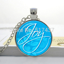 HZ1 JOY PENDANT Aqua And White Joy Necklace Holiday Jewelry Inspirational Spiritual Message Gift For Her Christmas Gift