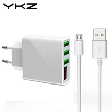 YKZ LED Display travel charger Adapter universal Mobile Phone 3 port fast usb charger for Xiaomi iPhone Samsung Tablet Charger(China)