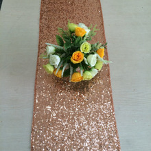 "Rose Gold Sequin Table Runner 12"" x 108"" Sequin TableCloth Wholesale Sequin Table Cloths"