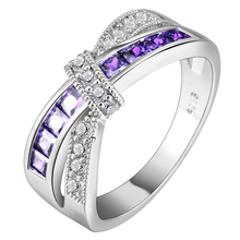 Buy cross finger ring lady paved cz zircon luxury hot Princess women Wedding Engagement Ring purple pink color jewelry for $2.36 in AliExpress store