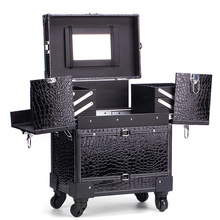 1 piece Aluminum with PVC Panel Professional Makeup Case with Wheels Beauty Box with wheels
