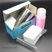 Gel Soak Off Nail Polish Remover Silver Paper Set Nail Polish Remover Gel Cotton Cleaner UV Gel Cleaner Set(China)