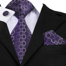 Mens Tie Purple Silk Neck Tie Hanky Cufflink Set Sell Like Hot Cakes Mens Business Fashion Ties For Men C-623