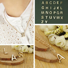 Cheap Price Gold Color 26 Letters Personalized Small Pendant Thin Clavicle Chain Necklace sautoir bijoux femme N~Z