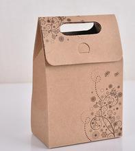 10pcs/set Merry Christmas Kraft Paper Bag Gift Bags Party Lolly Favour Bowknot Wedding Packaging Wedding Favors