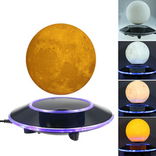 Magnetic Levitating Wireless 3D Moon Lamp Floating and Spinning in the Air Freely with Gradient Warm and White LED Night Light(China)