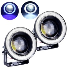 2pcs Waterproof Projector LED Fog Light With Lens Halo Angel Eyes Rings COB 30W Xenon White Blue 12V SUV ATV Off Road Fog Lamp(China)