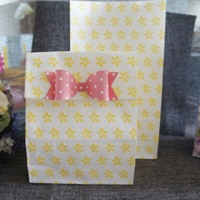 12 sets yellow flower paper bag with paper bow Gift Bags Party snacks candy Packaging