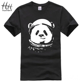 HanHent Espaço Panda T-shirt Dos Homens 2017 Moda Animal Bonito Engraçado Camisetas O Pescoço Streetwear Legal Clássico Preto Tops