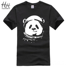 HanHent Space Panda T-shirt Men 2017 Fashion Cute Animal Funny Tee Shirts O-neck Cool Streetwear Classical Black Tops(China)