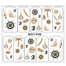 1 sheet Vintage Anchor Nail Water Decals Rudder Clock Cupid Transfer Stickers Nail Art Sticker Tattoo Decals BOP040