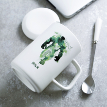 400ml Ink Herois Vingador porcelain white tea mugs cups office coffee cup breakfast milk cup with cover and spoon