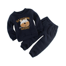 Boy's clothing sets spring Baby Sets fleece cotton boy tracksuits Kids sport suits cartoon Dino/bear coats/sweatshirts+pants(China)