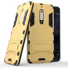 Dual Layer Rugged Hybrid Armor Resistant For Nokia 5 Case PC + TPU Kick Stand Back Cover For Nokia 5 Mobile Phone Bags