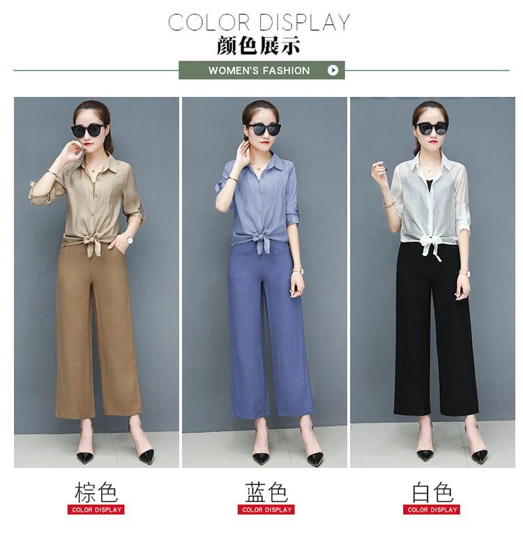2019 Spring summer women sets office lady elegant chiffon blouse shirts+female wide leg pants trousers pantalon two piece sets 8 Online shopping Bangladesh