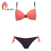 Andzhelika 2017 Sexy Big Soft Cup Bikinis Women Bikini Halter Bathing Suit Solid Swimsuit Summer Party Beach Plus Size Swimwear(China)