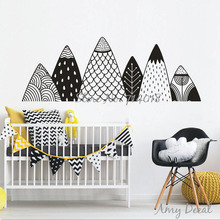 Patterned Mountains Wall Decal Nordic Style Mountain Woodland Nursery Tribal Wall Decor Christmas Nursery Vinyl Stickers A730