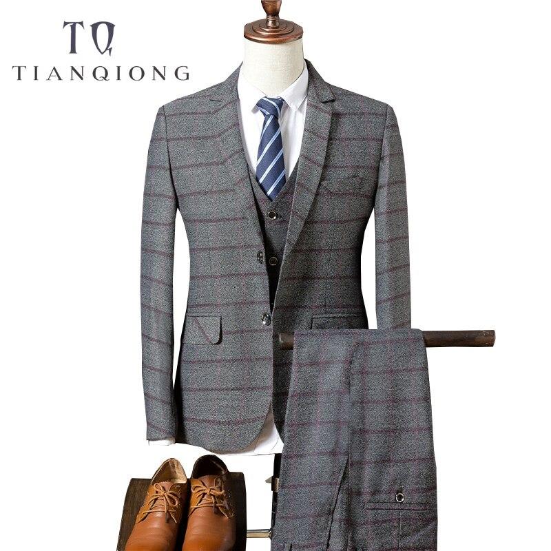 TIAN QIONG (chaqueta + Pantalones + chaleco) hombres 2018 marca Slim Fit  Hombre Trajes 434460a82b7