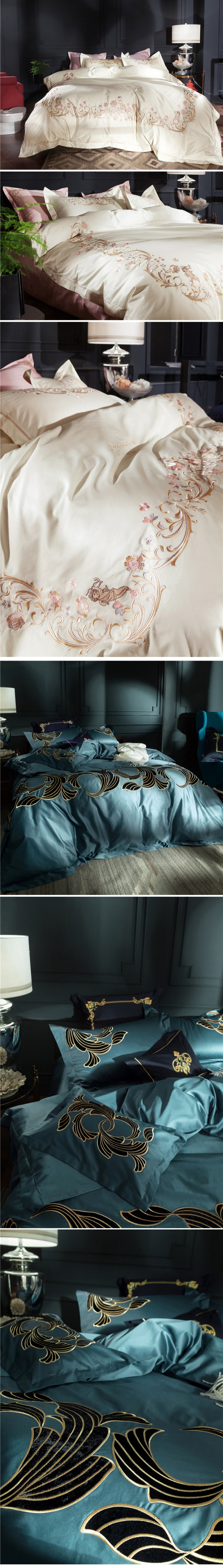 Luxury bedding sets 4pcs supima cotton duvet cover Chinese embroidery bed sheet home textile 4