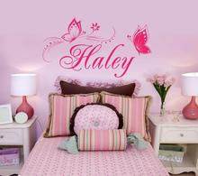 Personalized  Name  Butterfly  wall stickers for kids room decor Vinyl wall decal  home decoration LH054